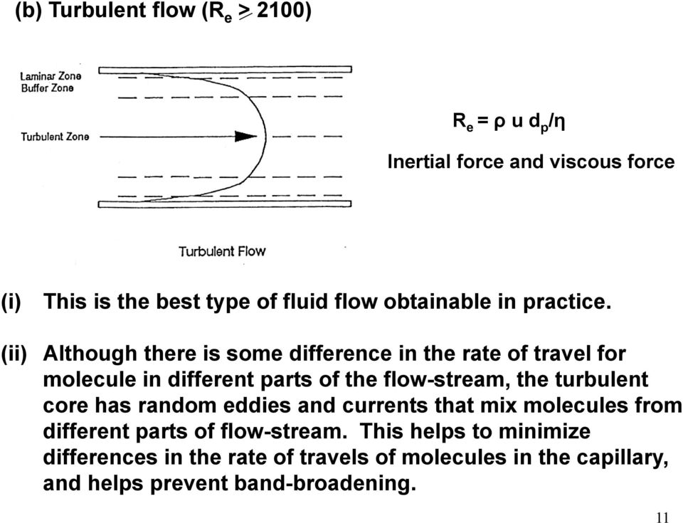(ii) Although there is some difference in the rate of travel for molecule in different parts of the flow-stream, the