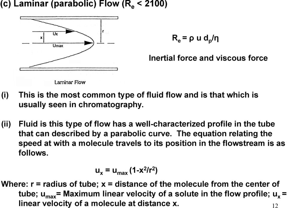 The equation relating the speed at with a molecule travels to its position in the flowstream is as follows.
