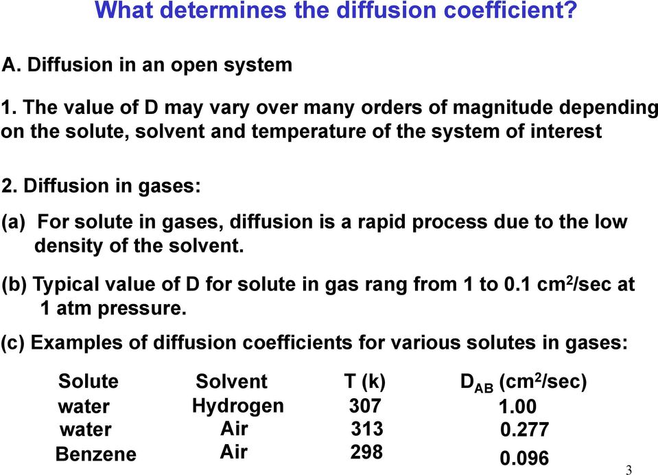 Diffusion in gases: (a) For solute in gases, diffusion is a rapid process due to the low density of the solvent.