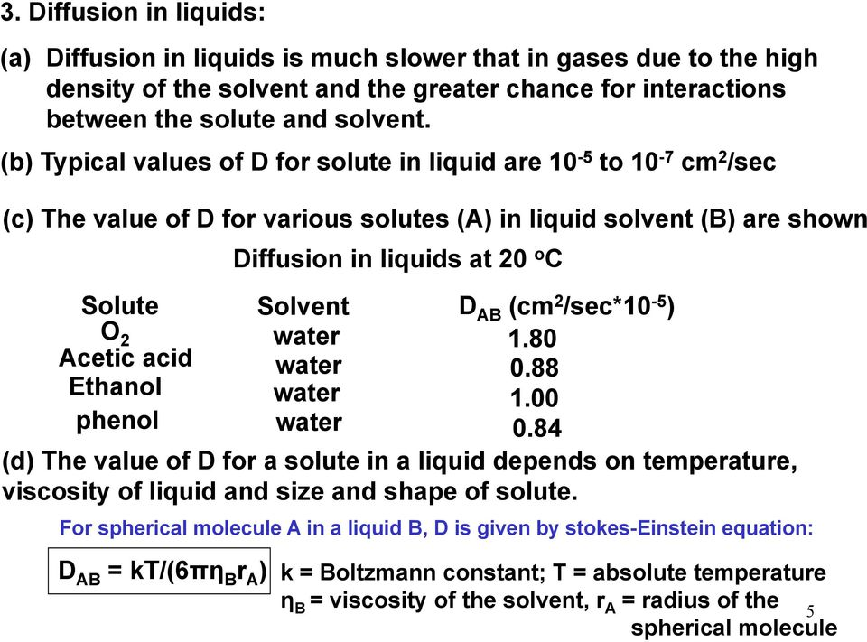 (cm 2 /sec*10-5 ) O 2 water 1.80 Acetic acid water 0.88 Ethanol water 1.00 phenol water 0.