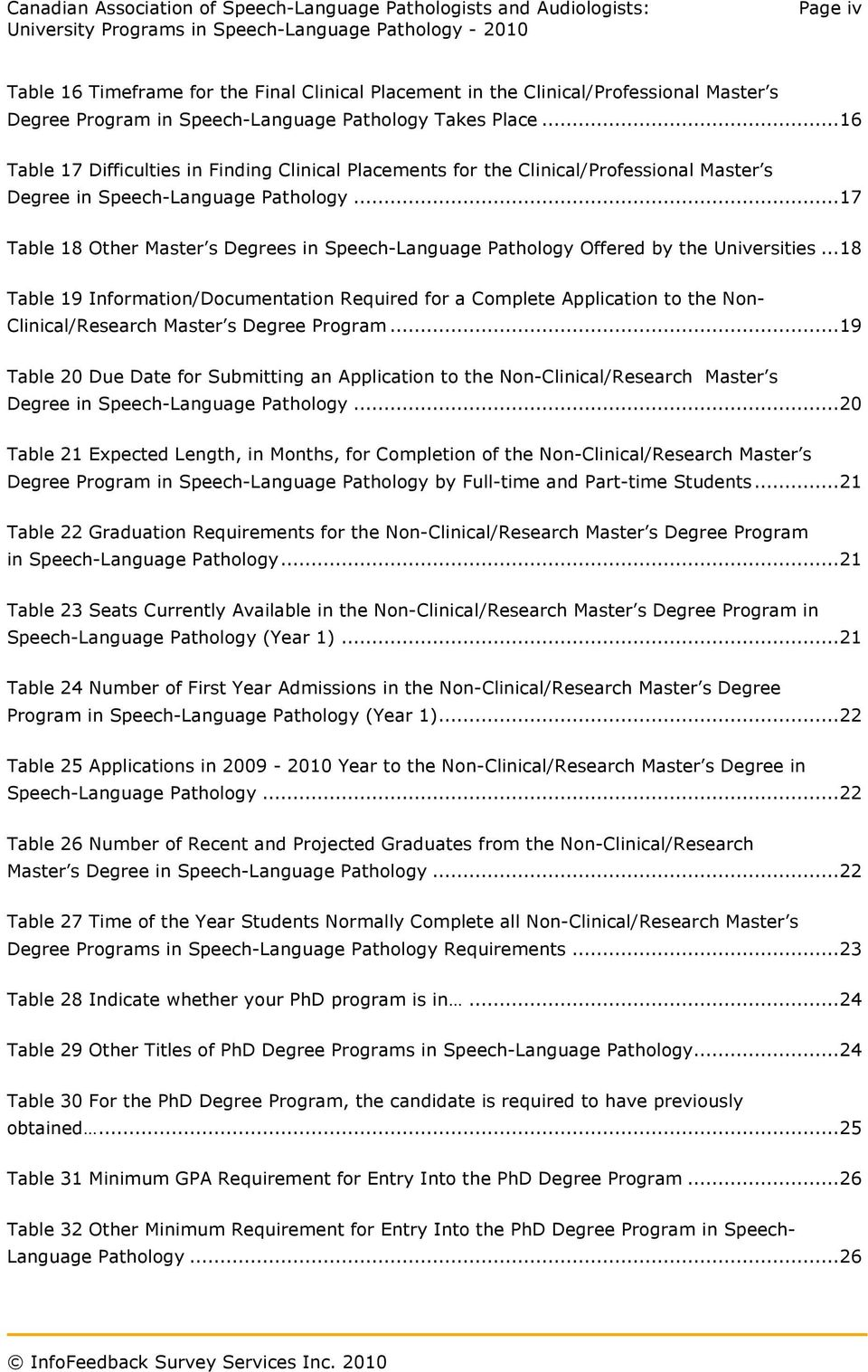 ..17 Table 18 Other Master s Degrees in Speech-Language Pathology Offered by the Universities.