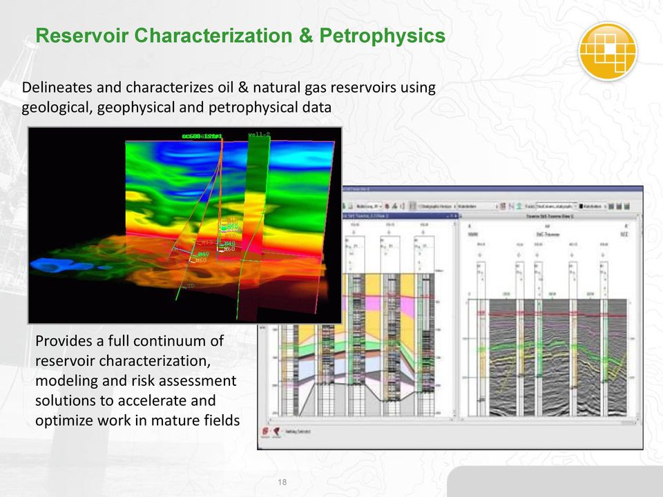 data Provides a full continuum of reservoir characterization, modeling and