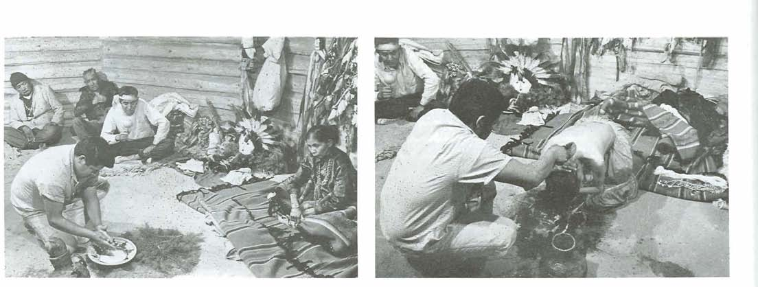 W~lliam R. Heirk Pho~ography. Mill Valley. Calif. Fig. 14. Bath ceremony from a Nightway. left, Patient (woman at right) watches as an assistant prepares yucca root suds to be used in the bath.