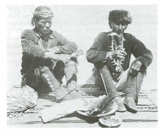 Leland C. Wyman, Sonderborg. Denmark. Fig. 1. Ceremonial singers Hastin Gani (left), of Beautiful Valley, Ariz., and Red Moustache of Kinlichee, Ariz.