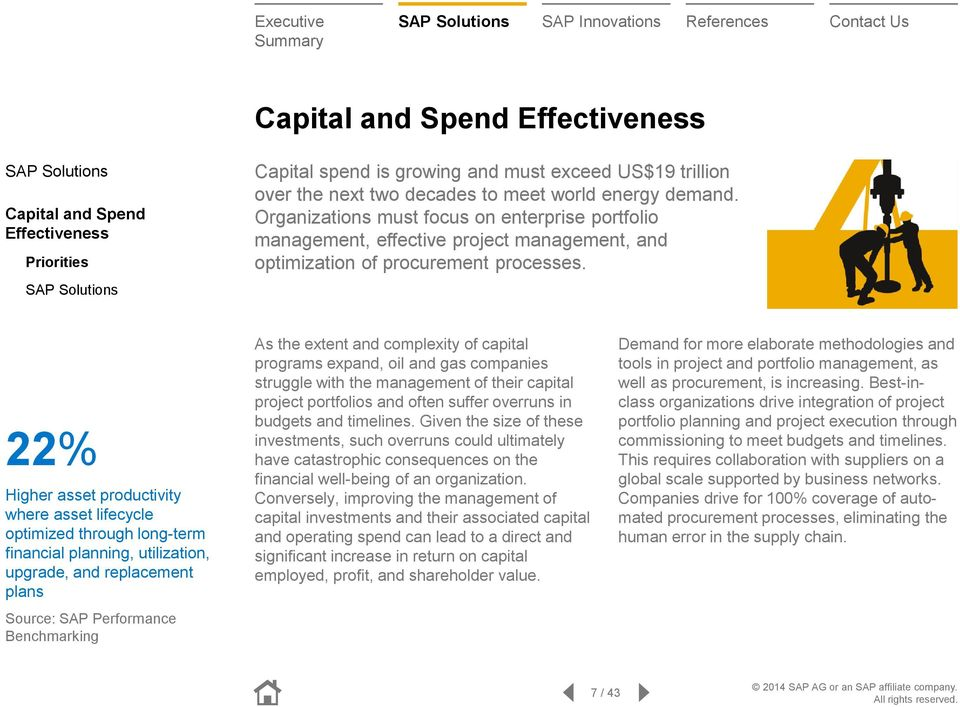22% Higher asset productivity where asset lifecycle optimized through long-term financial planning, utilization, upgrade, and replacement plans Source: SAP Performance Benchmarking As the extent and