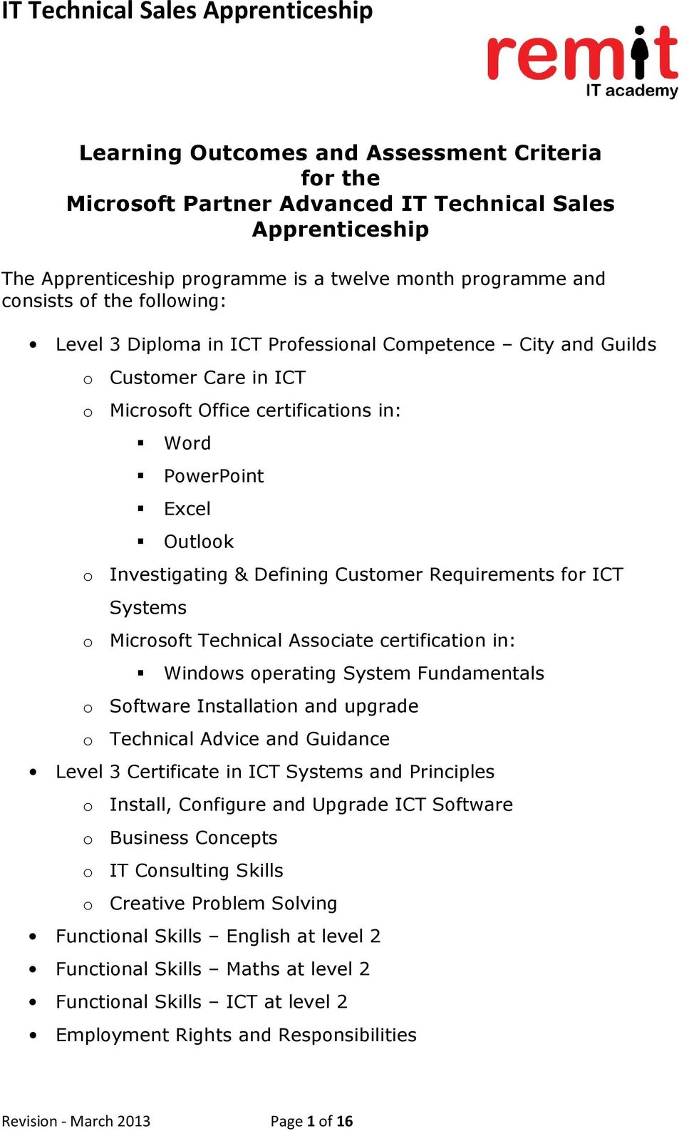 it technical s apprenticeship pdf requirements for ict systems o microsoft technical associate certification in windows operating system fundamentals o