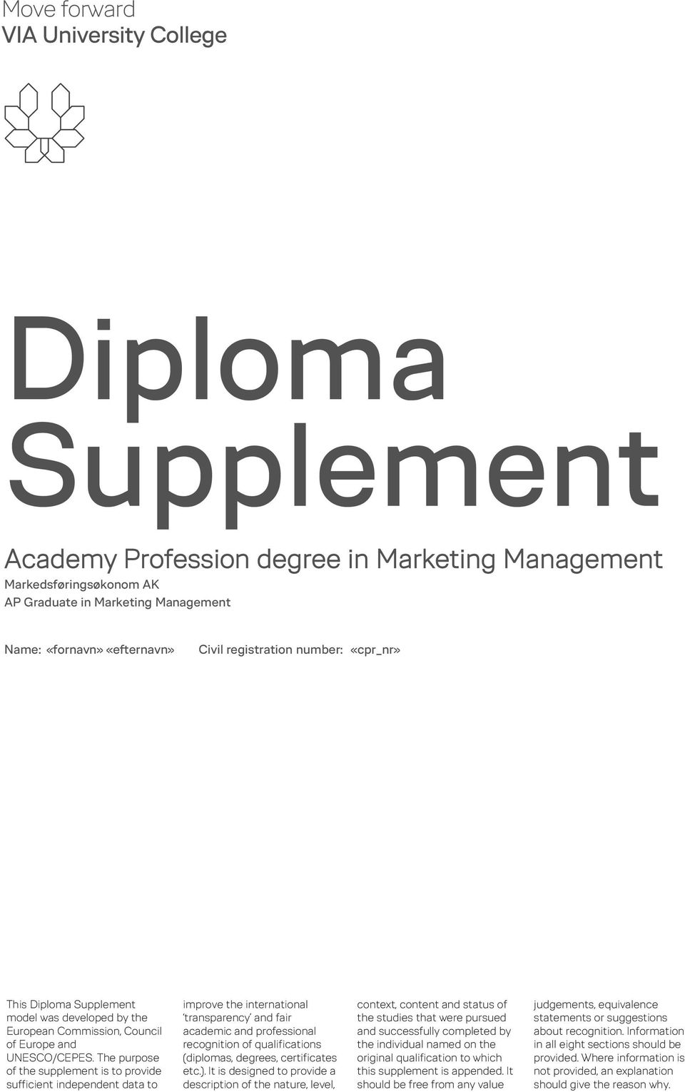 The purpose of the supplement is to provide sufficient independent data to improve the international transparency and fair academic and professional recognition of qualifications (diplomas, degrees,