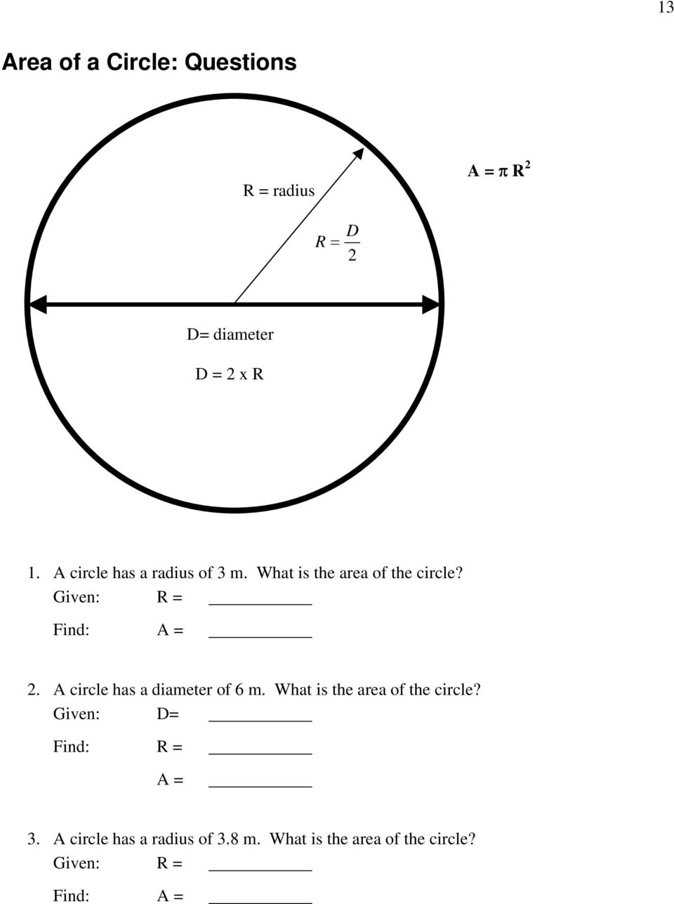 A circle has a diameter of 6 m. What is the area of the circle?