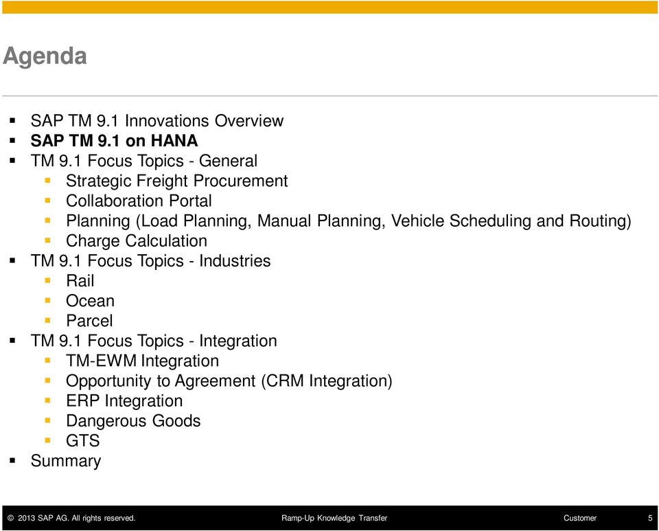 Manual Planning, Vehicle Scheduling and Routing) Charge Calculation TM 9.