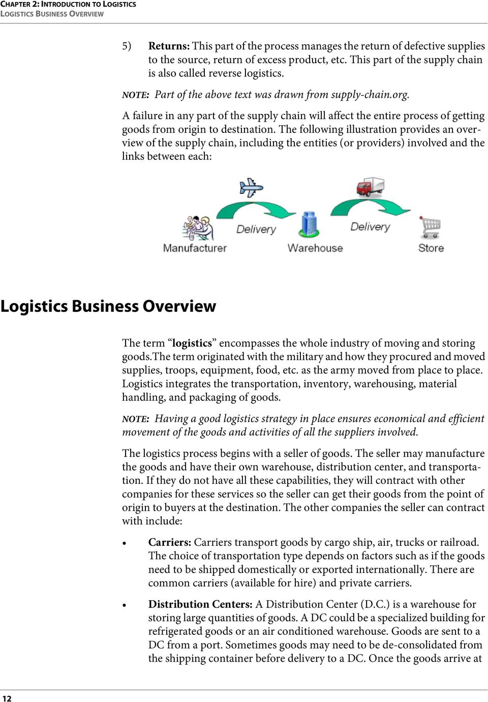 A failure in any part of the supply chain will affect the entire process of getting goods from origin to destination.