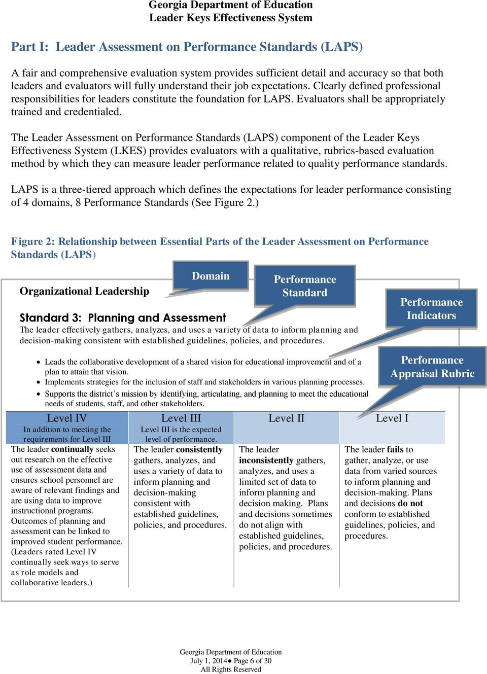 The Leader Assessment on Performance Standards (LAPS) component of the Leader Keys Effectiveness System (LKES) provides evaluators with a qualitative, rubrics-based evaluation method by which they