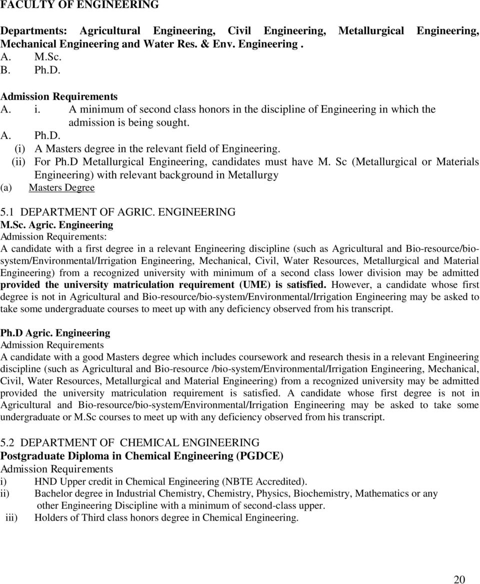 D Metallurgical Engineering, candidates must have M. Sc (Metallurgical or Materials Engineering) with relevant background in Metallurgy (a) Masters Degree 5.1 DEPARTMENT OF AGRIC. ENGINEERING M.Sc. Agric.