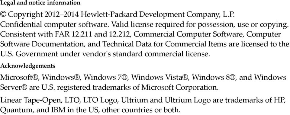 212, Commercial Computer Software, Computer Software Documentation, and Technical Data for Commercial Items are licensed to the U.S. Government under vendor's standard commercial license.