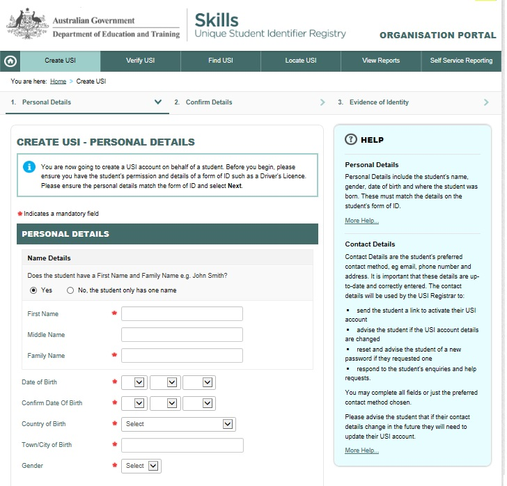 Mandatory fields are indicated by asterisks The key points to remember when entering Personal Details are: The personal details must be entered as they are shown on the student s form of ID (eg you