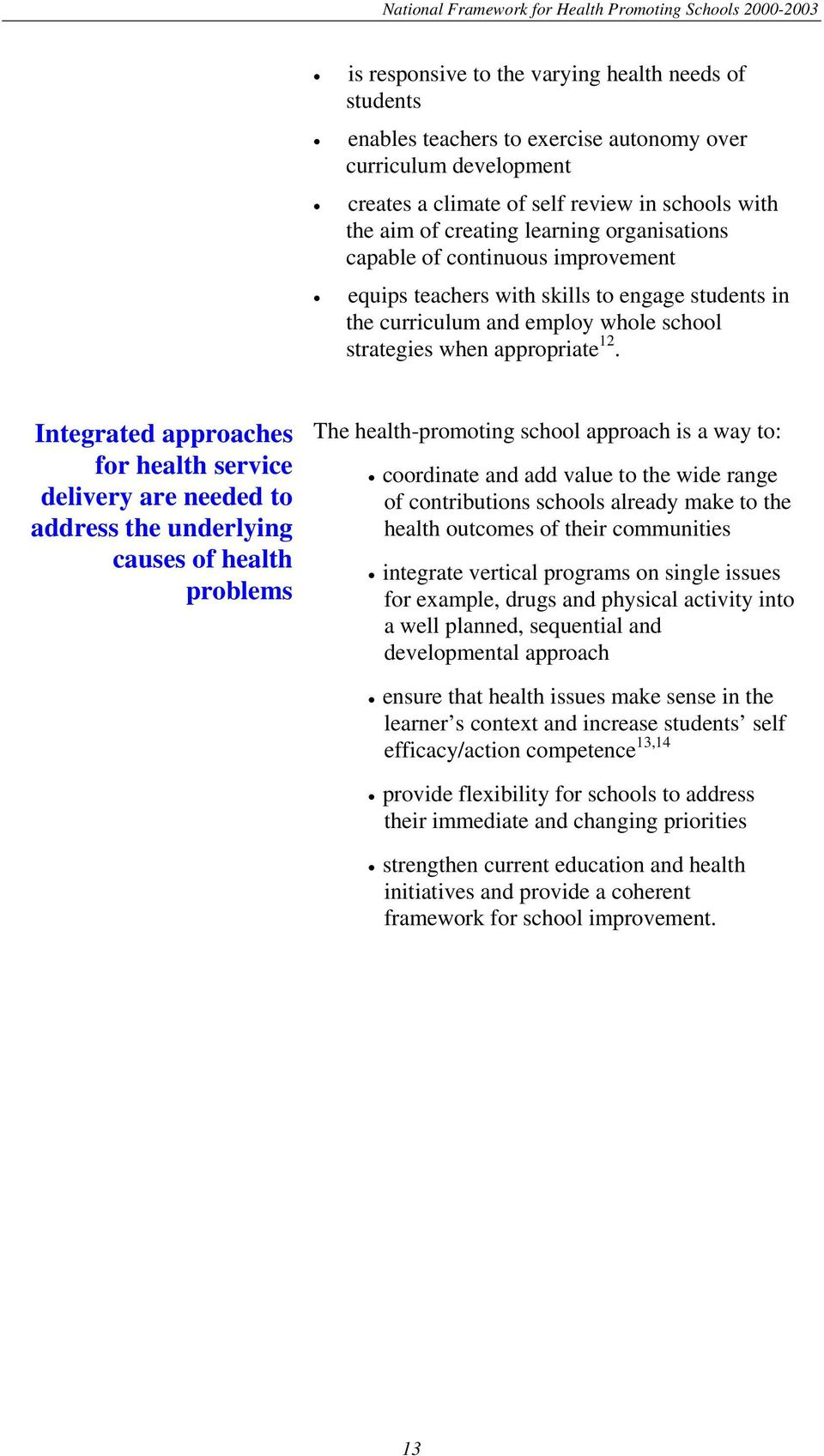 Integrated approaches for health service delivery are needed to address the underlying causes of health problems The health-promoting school approach is a way to: coordinate and add value to the wide