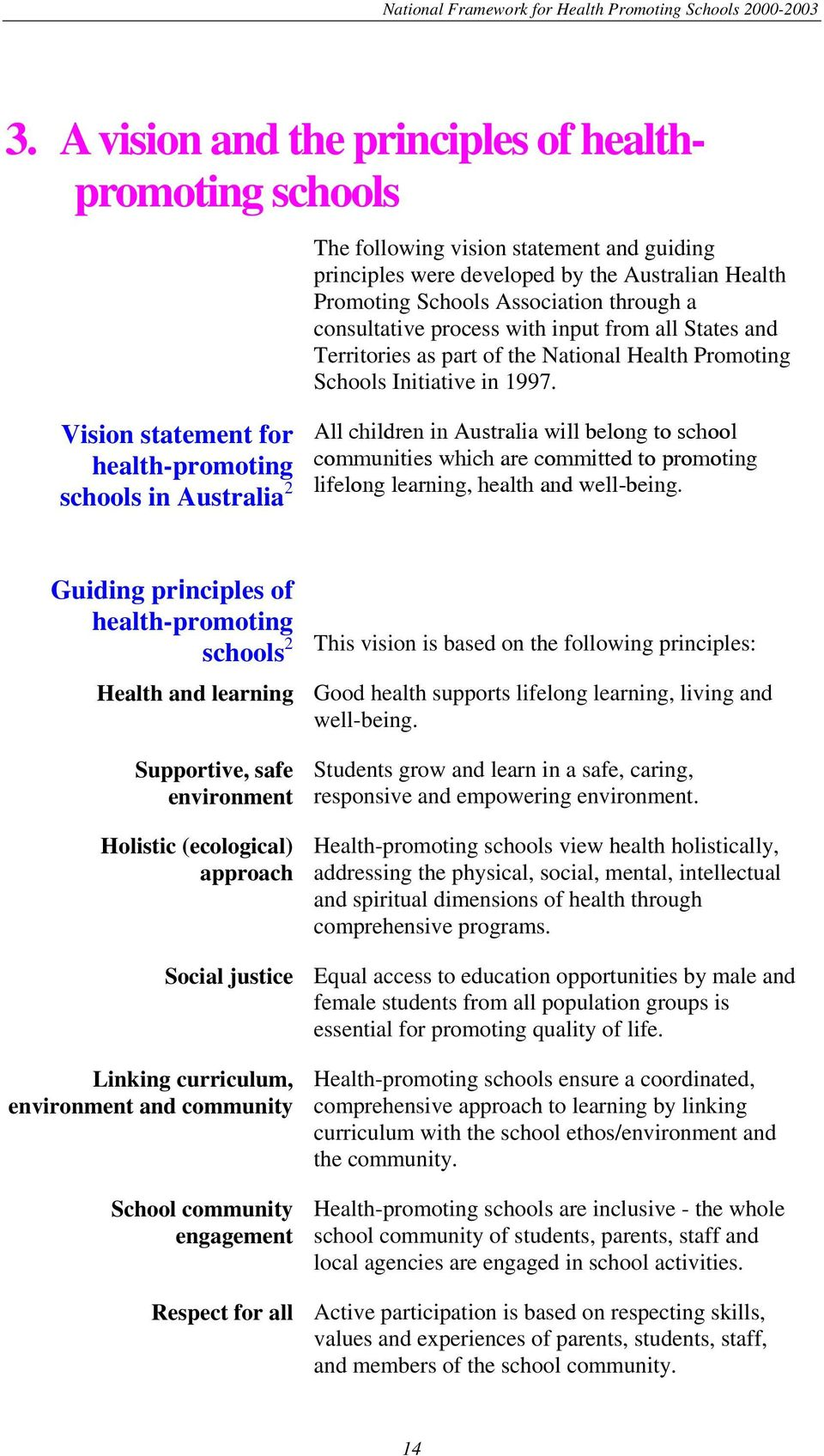 Vision statement for health-promoting schools in Australia 2 All children in Australia will belong to school communities which are committed to promoting lifelong learning, health and well-being.