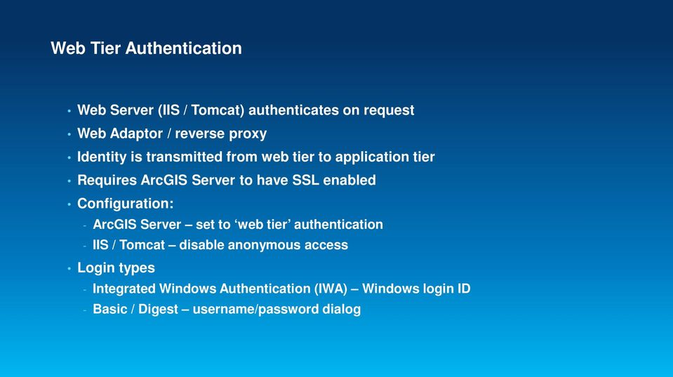 Configuration: - ArcGIS Server set to web tier authentication - IIS / Tomcat disable anonymous access