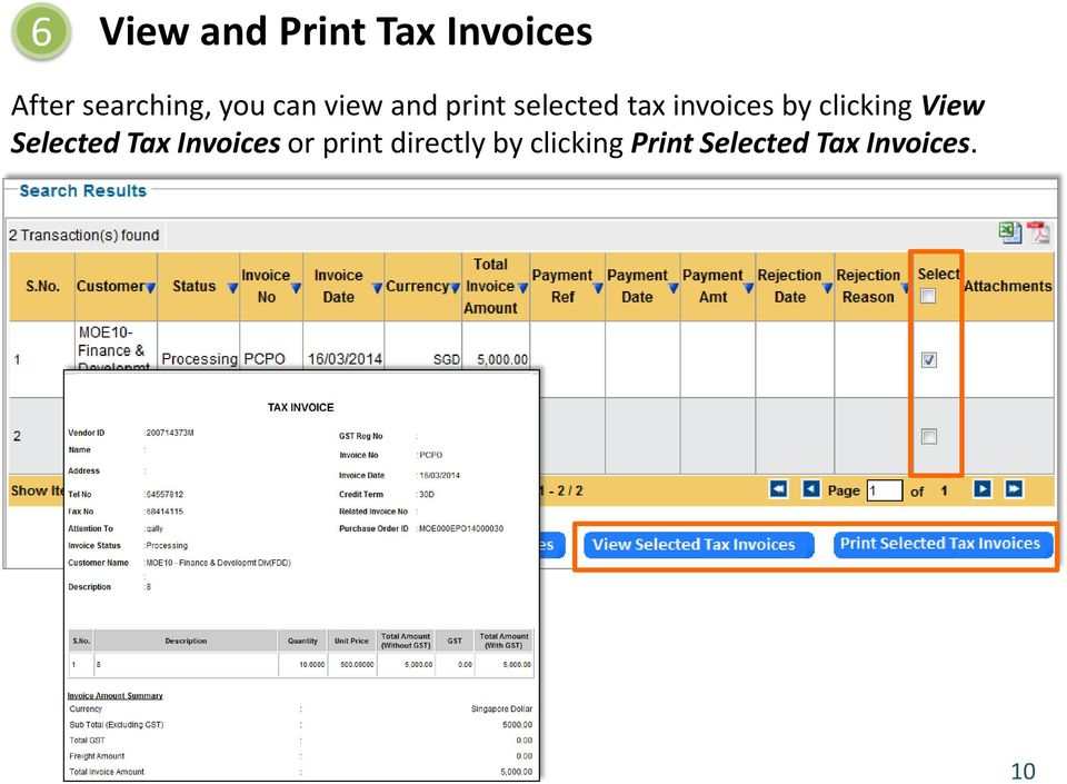 clicking View Selected Tax Invoices or print