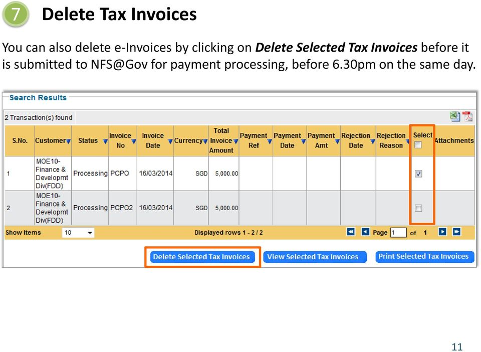 Invoices before it is submitted to NFS@Gov for