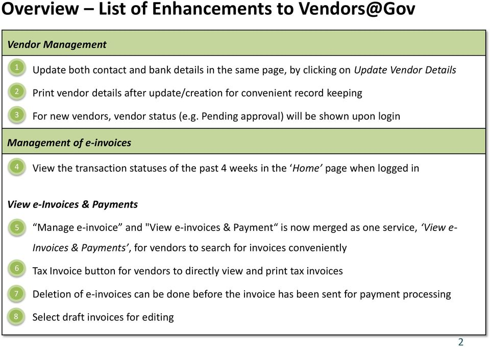 For new vendors, vendor status (e.g.