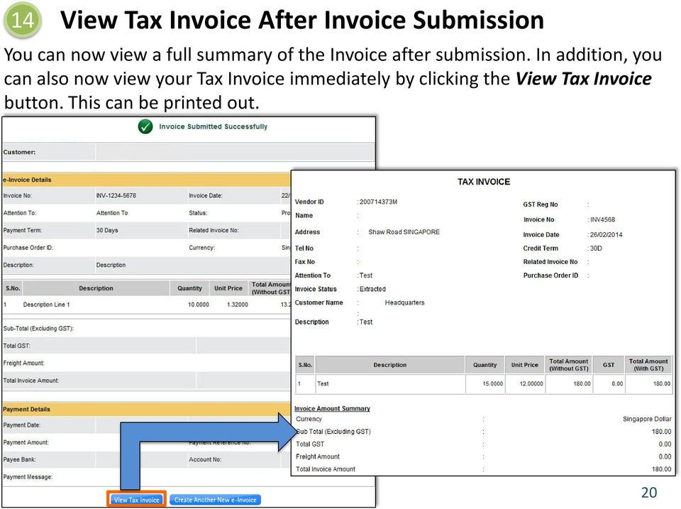 In addition, you can also now view your Tax Invoice