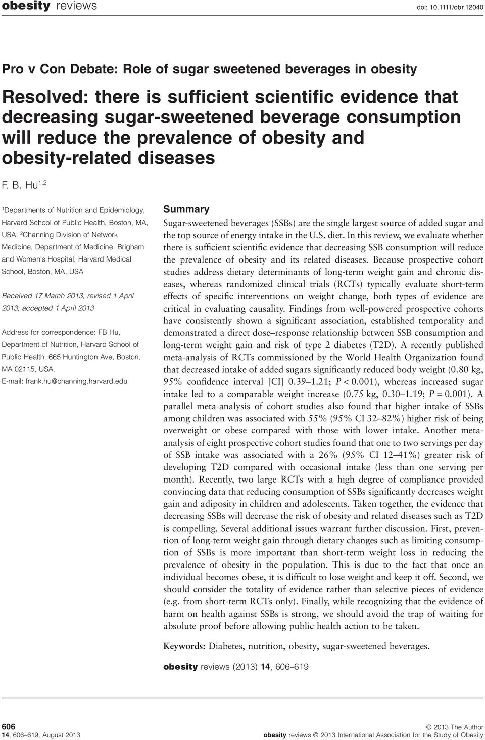 of obesity and obesity-related diseases F. B.