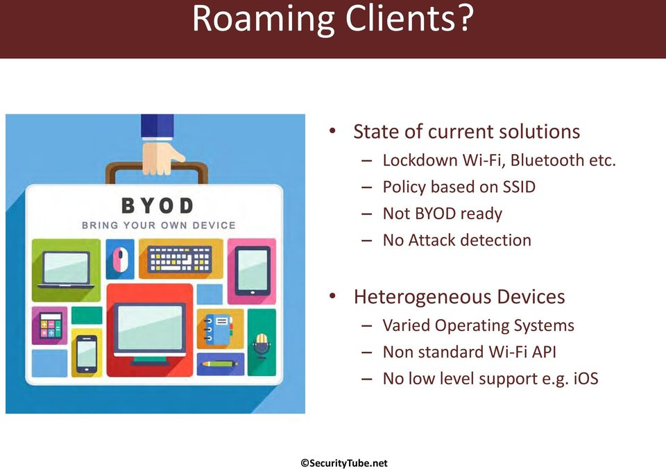 Policy based on SSID Not BYOD ready No Attack detection