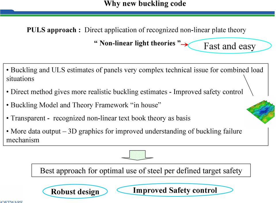 control Buckling Model and Theory Framework in house Transparent - recognized non-linear text book theory as basis More data output 3D graphics for