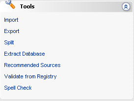 CHAPTER 4 Tools The Tools module contains various tools to help database administrators perform important data management functions, including moving data between databases, splitting and extracting