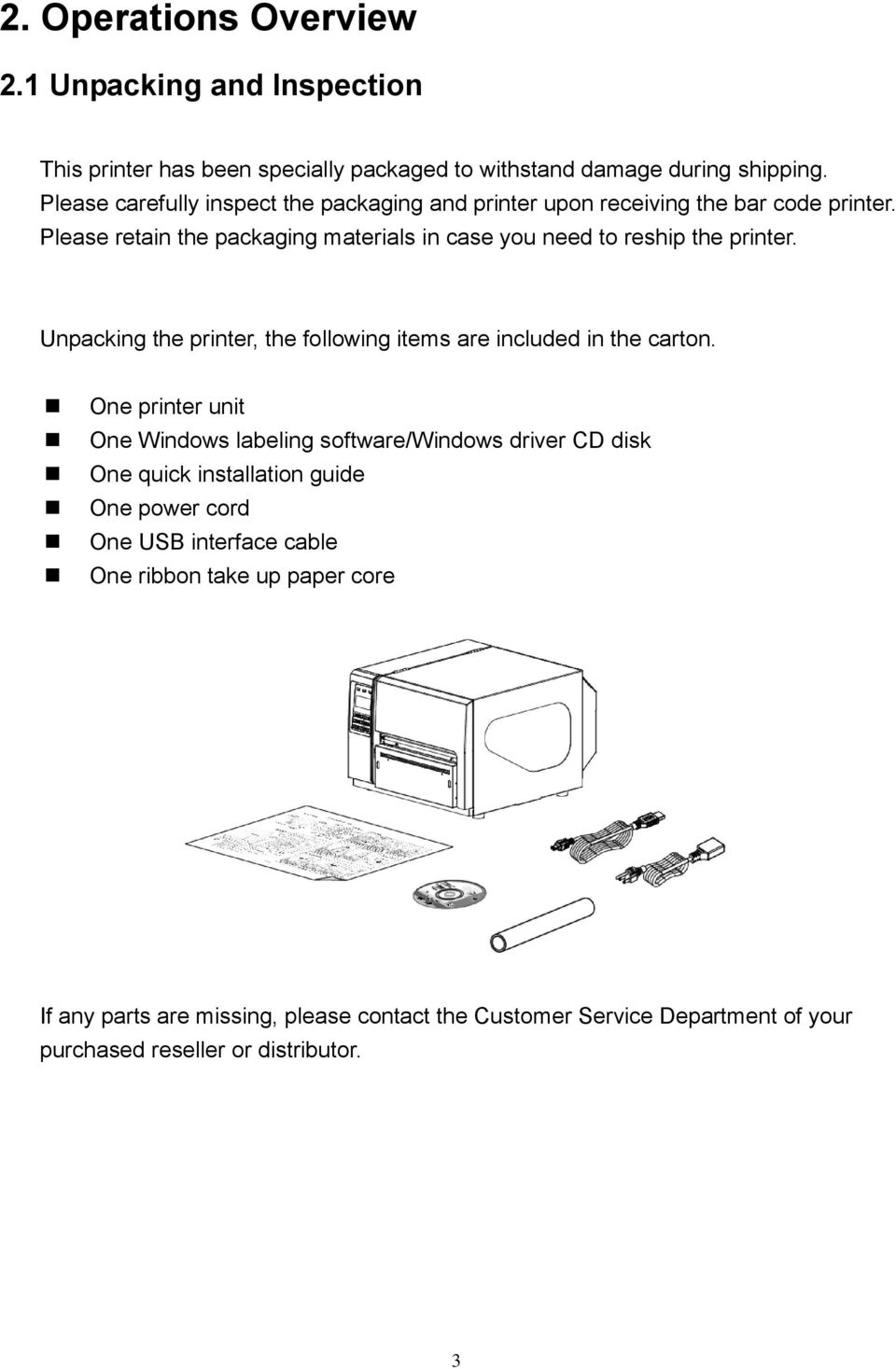 Please retain the packaging materials in case you need to reship the printer. Unpacking the printer, the following items are included in the carton.