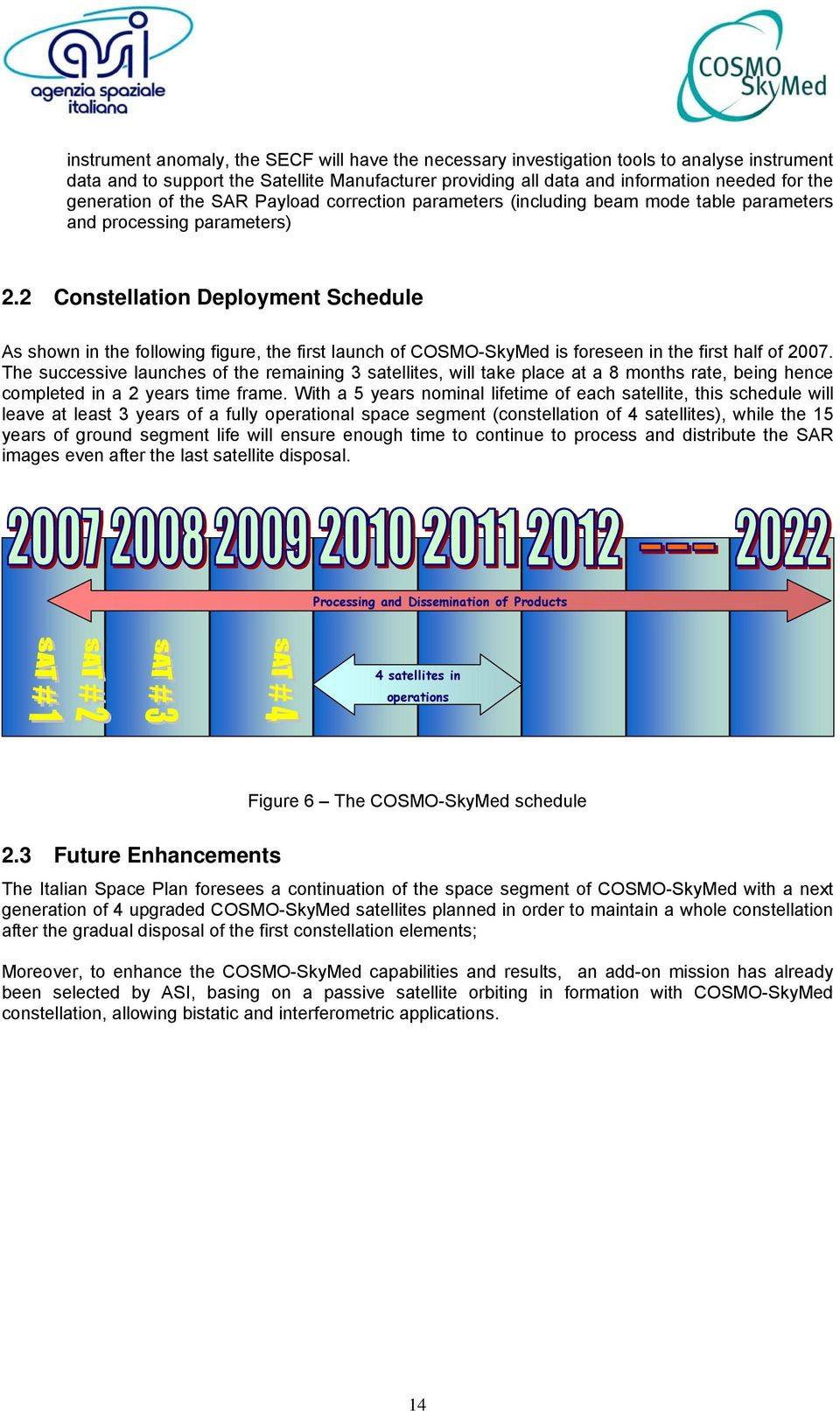 2 Constellation Deployment Schedule As shown in the following figure, the first launch of COSMO-SkyMed is foreseen in the first half of 2007.