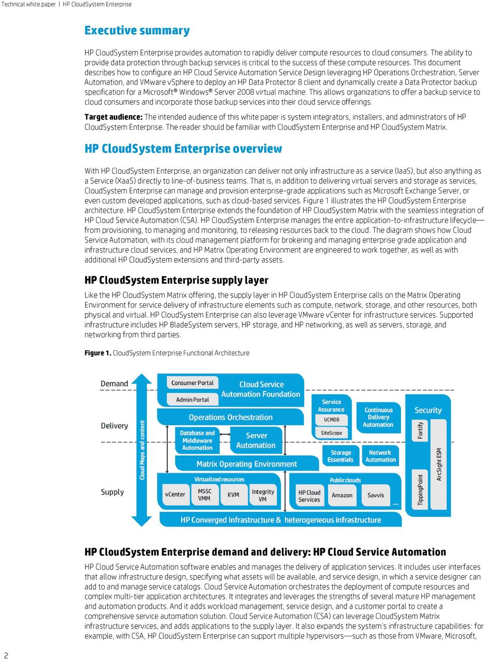 This document describes how to configure an HP Cloud Service Automation Service Design leveraging HP Operations Orchestration, Server Automation, and VMware vsphere to deploy an HP Data Protector 8