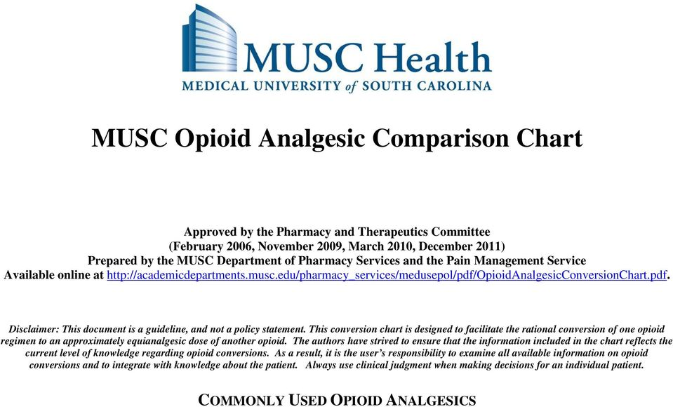 Musc Opioid Analgesic Comparison Chart  Pdf