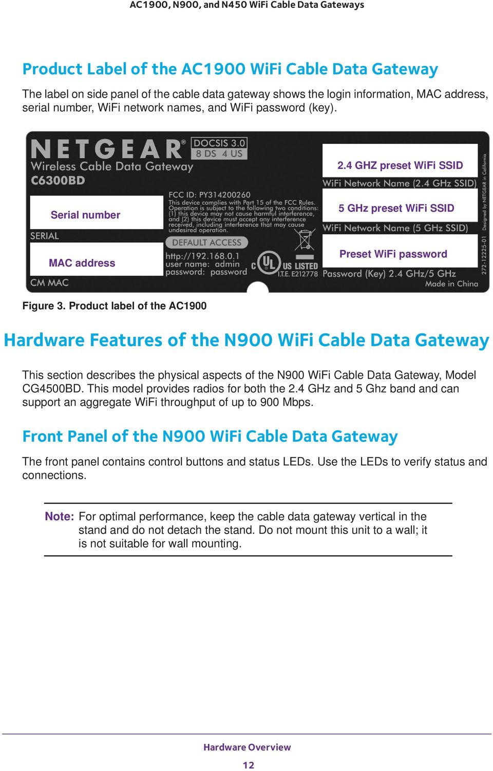 Product label of the AC1900 Hardware Features of the N900 WiFi Cable Data Gateway This section describes the physical aspects of the N900 WiFi Cable Data Gateway, Model CG4500BD.