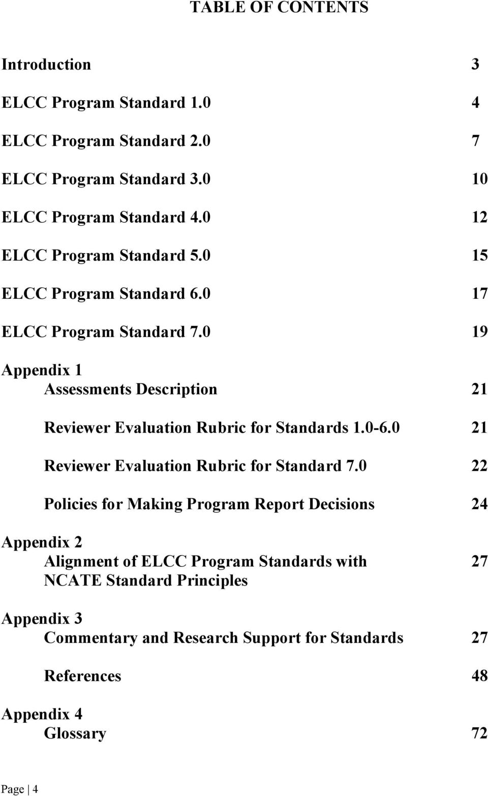 0 19 Appendix 1 Assessments Description 21 Reviewer Evaluation Rubric for Standards 1.0-6.0 21 Reviewer Evaluation Rubric for Standard 7.