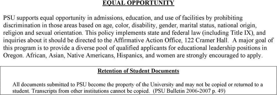 This policy implements state and federal law (including Title IX), and inquiries about it should be directed to the Affirmative Action Office, 122 Cramer Hall.