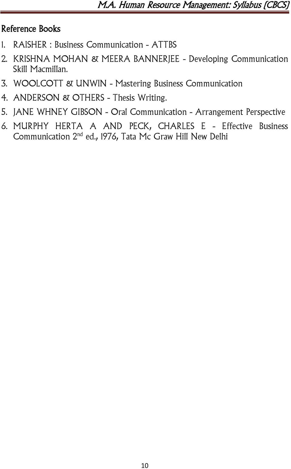WOOLCOTT & UNWIN - Mastering Business Communication 4. ANDERSON & OTHERS - Thesis Writing. 5.