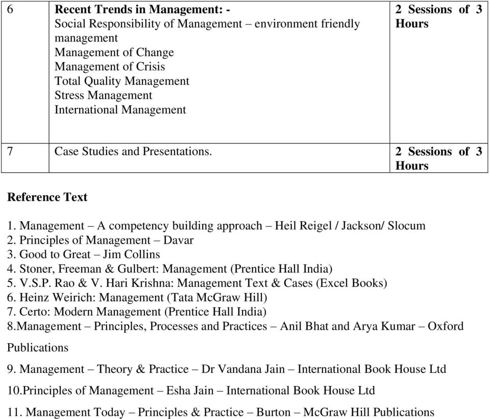 Principles of Management Davar 3. Good to Great Jim Collins 4. Stoner, Freeman & Gulbert: Management (Prentice Hall India) 5. V.S.P. Rao & V. Hari Krishna: Management Text & Cases (Excel Books) 6.