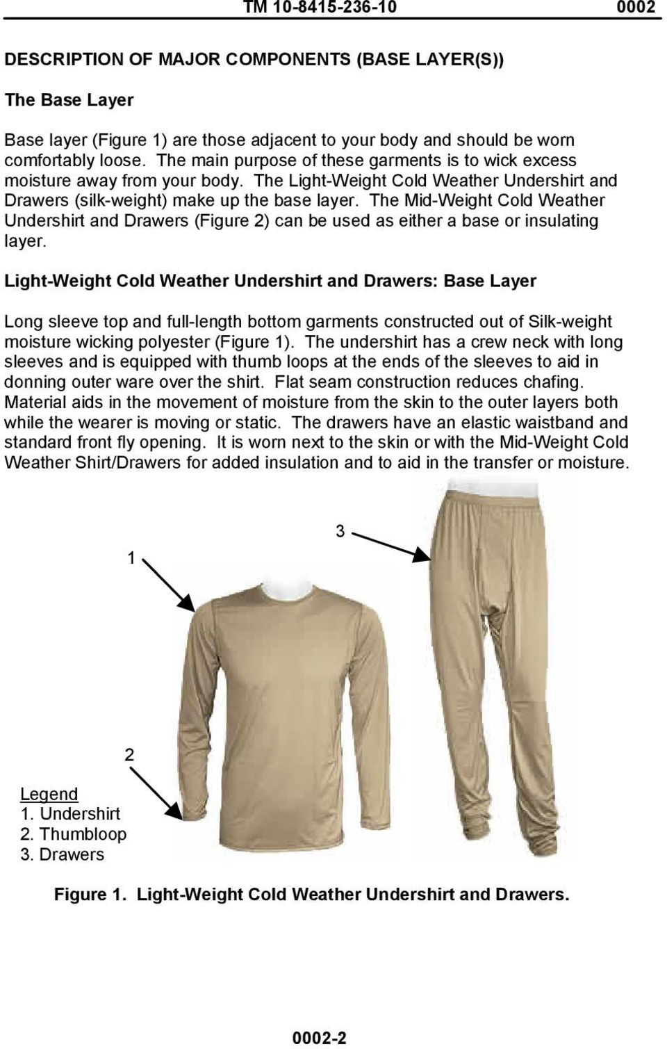 The Mid-Weight Cold Weather Undershirt and Drawers (Figure 2) can be used as either a base or insulating layer.