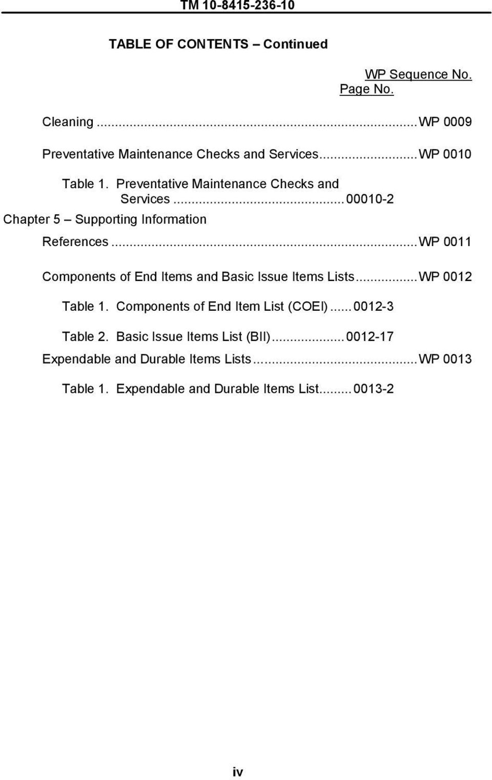 ..WP 0011 Components of End Items and Basic Issue Items Lists...WP 0012 Table 1. Components of End Item List (COEI)...0012-3 Table 2.