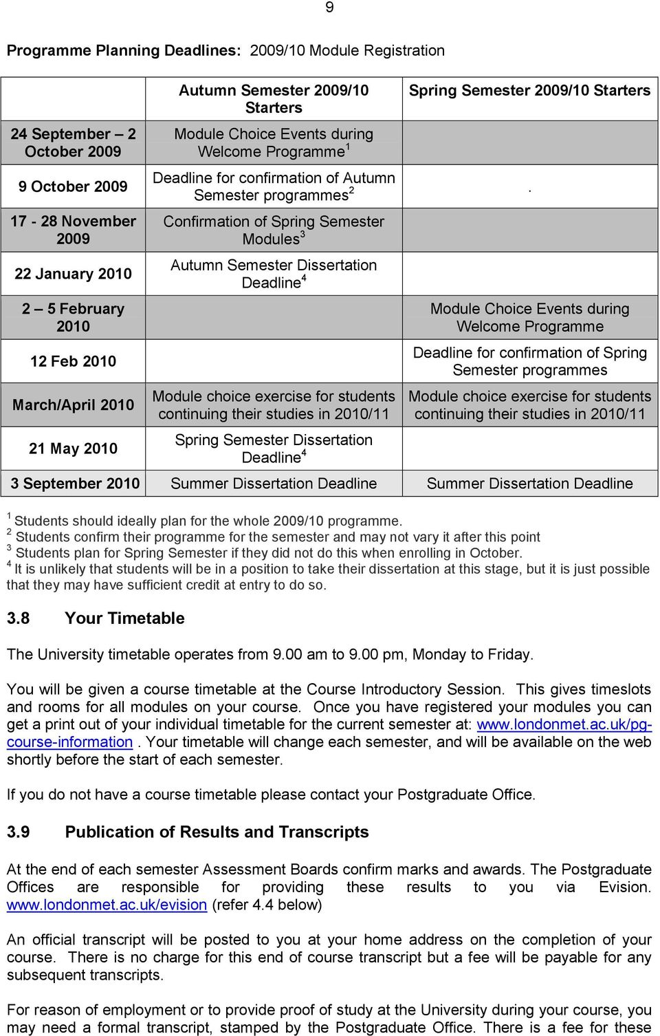Confirmation of Spring Semester Modules 3 Autumn Semester Dissertation Deadline 4 Module choice exercise for students continuing their studies in 2010/11 Spring Semester Dissertation Deadline 4