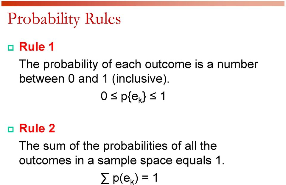 0 p{e k } 1 Rule 2 The sum of the probabilities of
