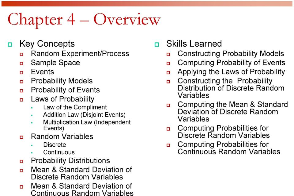 Continuous Random Variables Skills Learned Constructing Probability Models Computing Probability of Events Applying the Laws of Probability Constructing the Probability Distribution of