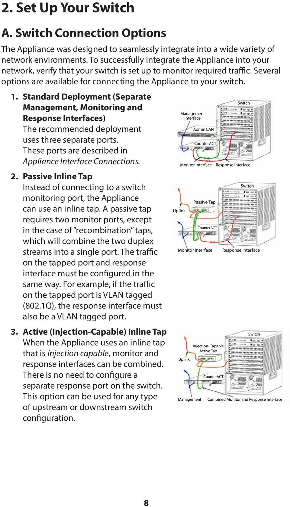 Standard Deployment (Separate Management, Monitoring and Response Interfaces) The recommended deployment uses three separate ports. These ports are described in Appliance Interface Connections. 2.