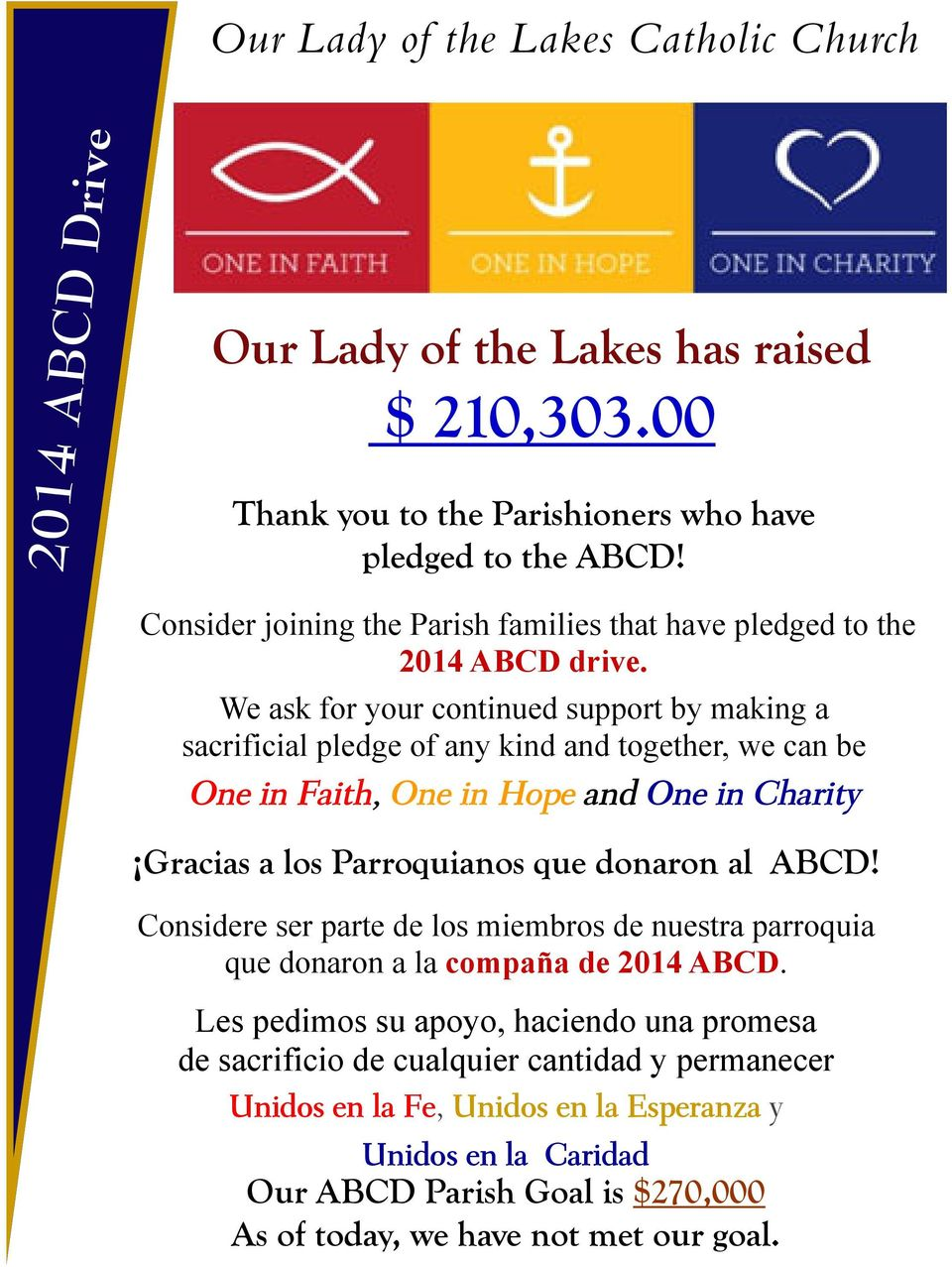 We ask for your continued support by making a sacrificial pledge of any kind and together, we can be One in Faith, One in Hope and One in Charity Gracias a los Parroquianos que donaron al