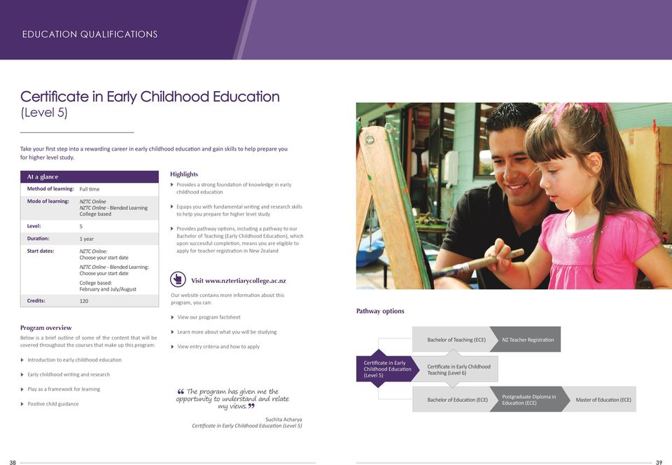 At a glance Method of learning: Mode of learning: Full time NZTC Online NZTC Online - Blended Learning College based Highlights Provides a strong foundation of knowledge in early childhood education