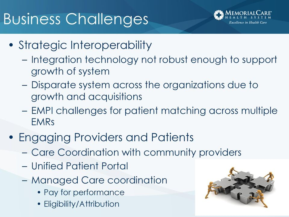 challenges for patient matching across multiple EMRs Engaging Providers and Patients Care Coordination