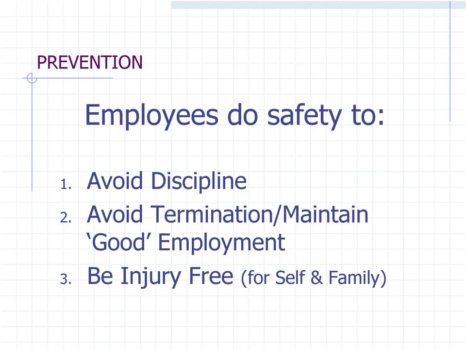 Avoid Termination/Maintain Good