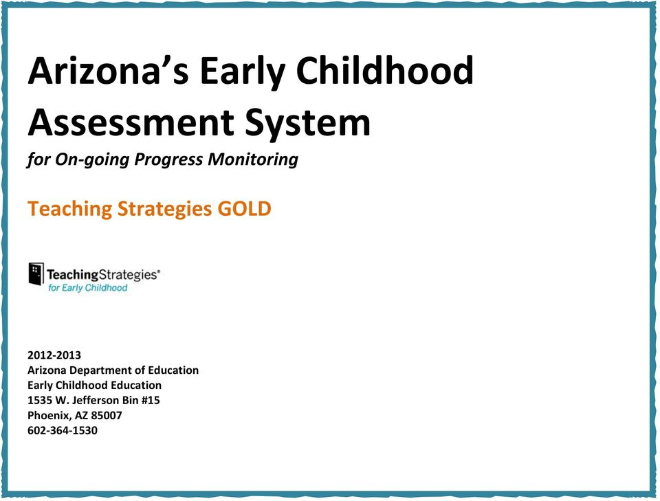Arizona Department of Education Early Childhood