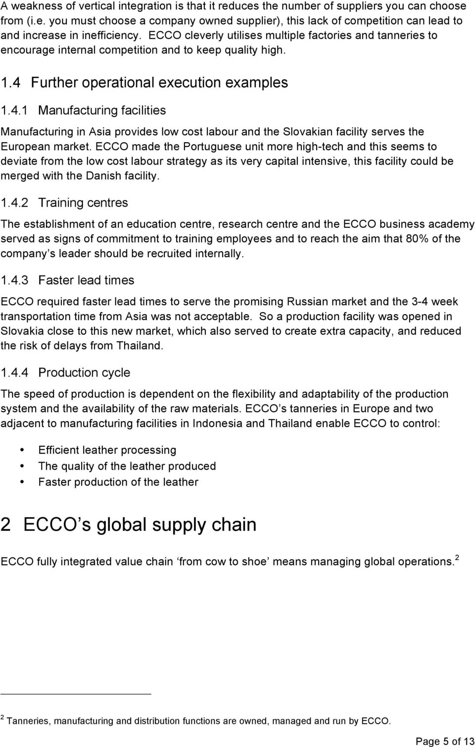 operations management coursework ecco shoes global value chain pdf further operational execution examples 1 4 1 manufacturing facilities manufacturing in asia provides low cost labour